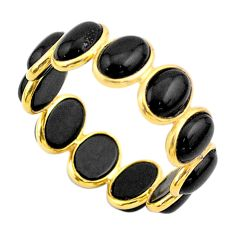 925 silver 7.18cts natural black onyx 14k gold eternity ring size 5.5 t44013