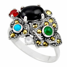 925 silver 4.02cts natural black onyx chalcedony pearl onyx ring size 7 c26266