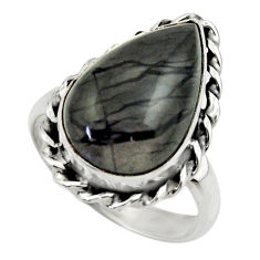 925 silver 11.42cts natural black picasso jasper solitaire ring size 8.5 r28440