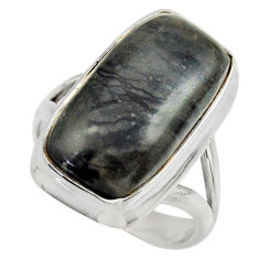 925 silver 8.87cts natural black picasso jasper solitaire ring size 7 r28424