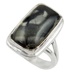 925 silver 10.53cts natural black picasso jasper solitaire ring size 7 r28432