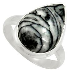 925 silver 10.78cts natural black pinolith pear solitaire ring size 8.5 r39328
