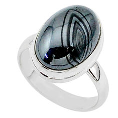 925 silver 7.91cts natural black psilomelane oval solitaire ring size 7 r95729
