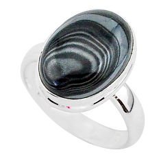 925 silver 6.59cts natural black psilomelane oval solitaire ring size 8 r95716