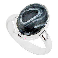 925 silver 6.20cts natural black psilomelane oval solitaire ring size 8 r95719