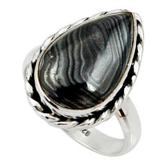 925 silver 10.24cts natural black psilomelane pear solitaire ring size 8 r28044