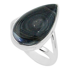 925 silver 10.24cts natural black psilomelane pear solitaire ring size 9 r95783