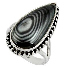 925 silver 16.83cts natural black psilomelane solitaire ring size 8.5 r28050