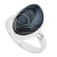 925 silver 9.74cts natural black psilomelane solitaire ring size 9.5 r95685