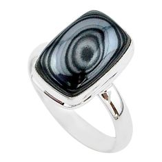 925 silver 6.83cts natural black psilomelane solitaire ring size 10 r95700