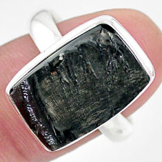 925 silver 10.79cts natural black shungite octagan solitaire ring size 9 t22417