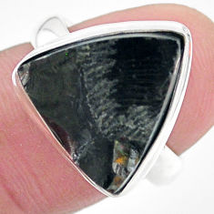 925 silver 10.78cts natural black shungite solitaire ring jewelry size 7 t22411