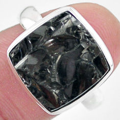 925 silver 6.84cts natural black shungite solitaire ring jewelry size 9 t22408