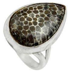 925 silver natural black stingray coral from alaska solitaire ring size 8 r28652