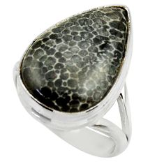925 silver natural black stingray coral from alaska solitaire ring size 8 r28724