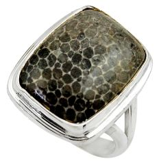 925 silver natural black stingray coral from alaska solitaire ring size 8 r28804