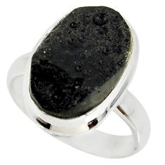 925 silver 9.30cts natural black tektite solitaire ring jewelry size 7 r34237