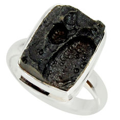 925 silver 8.22cts natural black tektite solitaire ring jewelry size 8 r34258