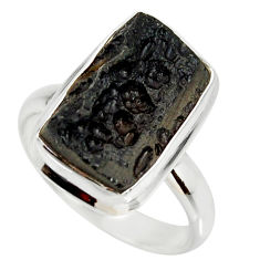 925 silver 9.67cts natural black tektite solitaire ring jewelry size 9 r34253