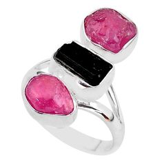 925 silver 15.29cts natural black tourmaline raw ruby rough ring size 8 t37695