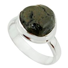 925 silver 5.09cts natural black tourmaline rough solitaire ring size 6.5 r22090