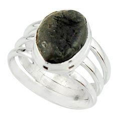 925 silver 5.93cts natural black tourmaline rough solitaire ring size 7.5 r22094