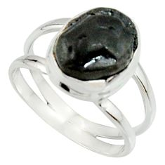 925 silver 5.76cts natural black tourmaline rough solitaire ring size 8.5 r22099