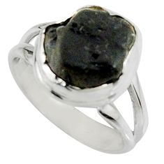 925 silver 5.38cts natural black tourmaline rough solitaire ring size 6.5 r22449