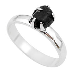 925 silver 2.76cts natural black tourmaline raw solitaire ring size 8 t21031