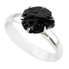 925 silver 4.53cts natural black tourmaline raw solitaire ring size 8 t21195