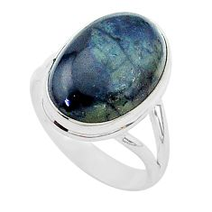 925 silver 9.79cts natural black vivianite oval solitaire ring size 8.5 r95773