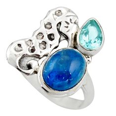 925 silver 6.26cts natural blue apatite (madagascar) seahorse ring size 7 d46004