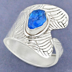 925 silver 2.98cts natural blue apatite rough adjustable ring size 8.5 r63352