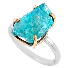 925 silver 6.58cts natural blue apatite raw fancy 14k gold ring size 6 t47119