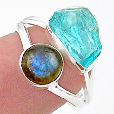 925 silver 9.18cts natural blue apatite raw labradorite ring size 7 t38088