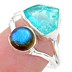 925 silver 8.24cts natural blue apatite raw labradorite ring size 8 t38095