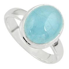 925 silver 4.82cts natural blue aquamarine oval solitaire ring size 7.5 r39749