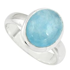 925 silver 4.84cts natural blue aquamarine oval solitaire ring size 7.5 r39755