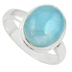 925 silver 5.11cts natural blue aquamarine oval solitaire ring size 7.5 r39759