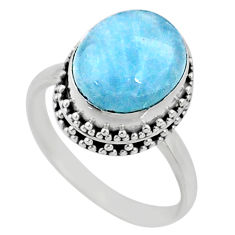 925 silver 5.08cts natural blue aquamarine oval solitaire ring size 8.5 r64682