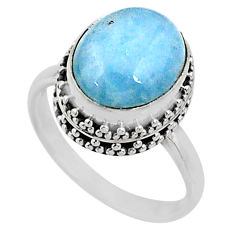 925 silver 4.92cts natural blue aquamarine oval solitaire ring size 7.5 r64699