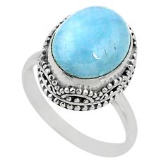925 silver 5.08cts natural blue aquamarine oval solitaire ring size 7.5 r64703