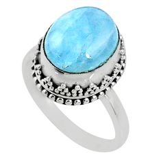 925 silver 5.10cts natural blue aquamarine oval solitaire ring size 7.5 r64713