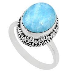 925 silver 5.52cts natural blue aquamarine oval solitaire ring size 8.5 r64715
