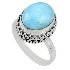 925 silver 5.53cts natural blue aquamarine oval solitaire ring size 7.5 r64719