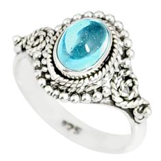 925 silver 1.46cts natural blue aquamarine oval solitaire ring size 5.5 r82293