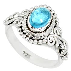 925 silver 1.49cts natural blue aquamarine oval solitaire ring size 6.5 r82356
