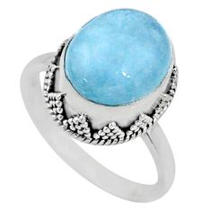 925 silver 5.11cts natural blue aquamarine oval solitaire ring size 7 r64689