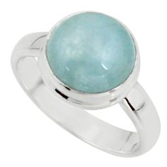 925 silver 5.06cts natural blue aquamarine round solitaire ring size 6.5 r39793