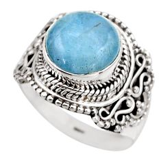925 silver 5.52cts natural blue aquamarine round solitaire ring size 7.5 r53364